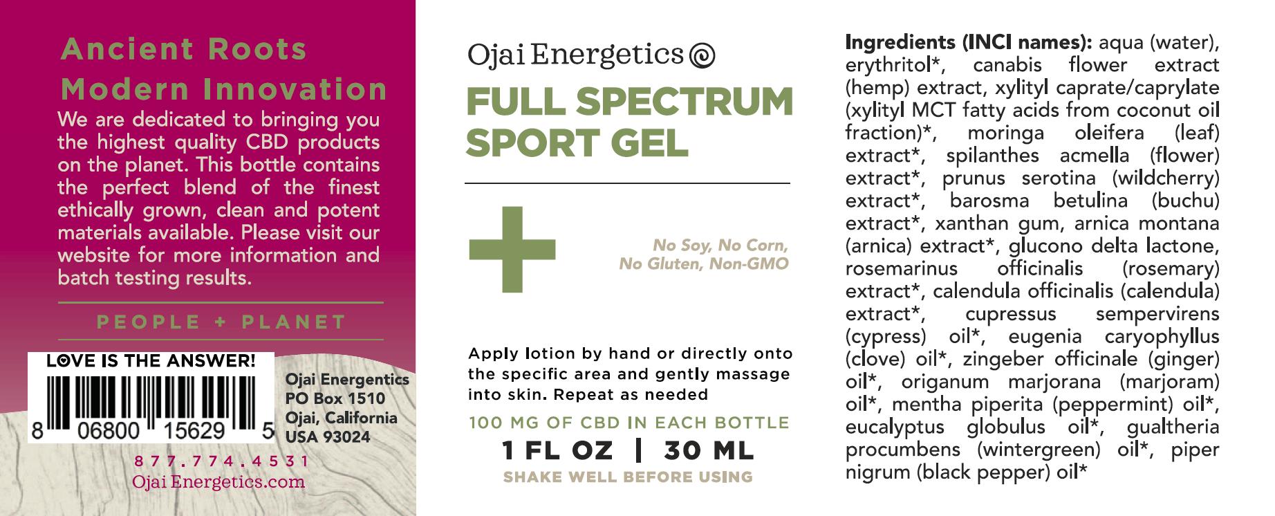 ojai energetics full spectrum cbd sports gel ingredients